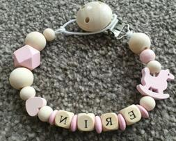 💞 Personalised Wooden Dummy Clip 💞 Horse 💞 Pink Gir