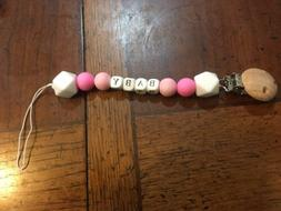 Personalized Baby Girl Pacifier Clip Handmade