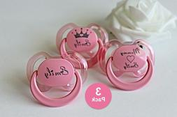 Personalized Pacifier, 3 PACK, Custom Pacifier, Baby Girl Gi