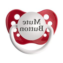 Personalized Pacifiers Mute Button in Red