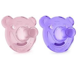 AVENT PHILIPS SOOTHIE BEAR SHAPE PACIFIER PINK/PURPLE 2 PACK