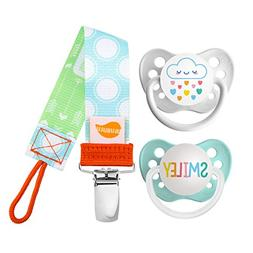 Ulubulu Rainbow Cloud and Smiley Designs/Pacifier, 0-6 Month