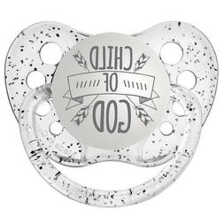 Religious Pacifier - Child of God Binky - Glitter Clear - Un