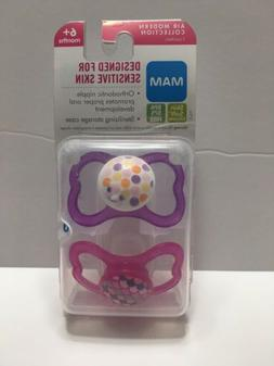 MAM Sensitive Skin Pacifier 2 Pack 6 Month + Includes Steril