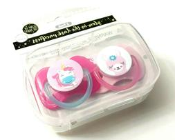 SET OF 2 PACIFIER UNICORN BABY SHEEP BINKY 0+ MONTHS BPA FRE