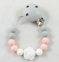 Silicone clip string paci pacifier holder clip girls boys te