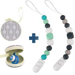 Silicone Pacifier Clip by Dodo Babies Pack of 2 + Pacifier C