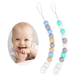 TYRY.HU Silicone Pacifier Clips, Modern Binky Holder Chains