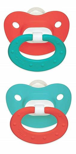 Nuk Silicone Pacifier.  Coral and teal color 6-18 months.  P