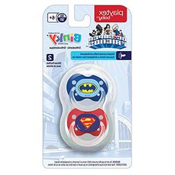 Playtex Silicone Super Friends Binky Pacifiers, Babies, 6+ M