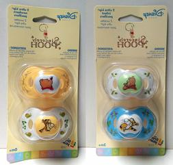 Disney Sincerely WINNIE POOH 2 pcs Pacifiers 0+ & 3+ Months