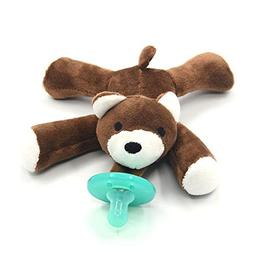 Soft Plush Animal Infant Silicone Pacifier - Bear - Boys and