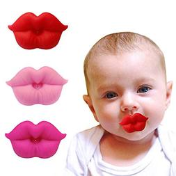 3PCS Soft Silicone Cute Pacifier Design with Kiss Lip, BPA F