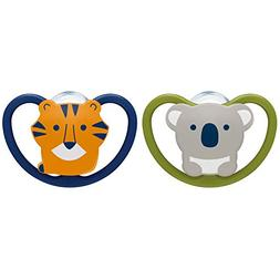 NUK 2-Piece Space Orthodontic Pacifier, 0-6 Months
