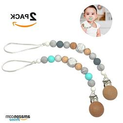 Teether Pacifier Clip 2-Pack Silicone Bead Binky & Soothie H