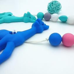 Teether Pacifier With Clip Silicone Giraffe Teething Baby Ca