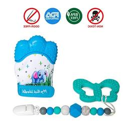 My Kid World Baby Teething Pain Relief Set of 3 Teething Mit