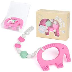 Teething Pain Relief BPA Free Silicone Toy and Pacifier Clip