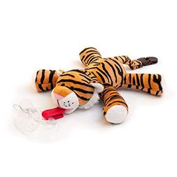 BabyHuggle Tiger Pacifier - Stuffed Animal Binky, Soft Plush