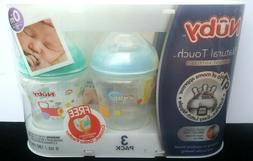 Nuby Natural Touch 3 Pack 6 Ounce Infant Bottle with Bonus C
