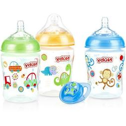 Nuby 3-Pack Natural Touch 9-oz Printed Baby Bottles, BPA-Fre