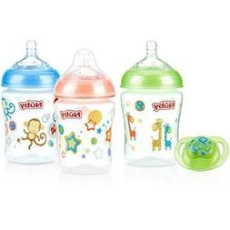 Nuby 3-Pack Natural Touch 9-oz Printed Baby Bottles with Com