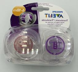 Philips Avent Translucent Pacifiers  6-18 M Clear - 2 In Pac