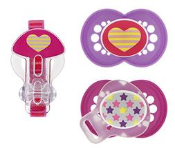 MAM Trends Orthodontic Pacifier with Clip Value Pack, Girl,