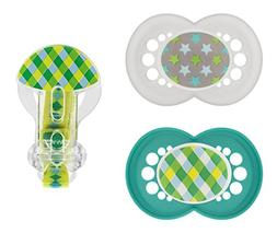 MAM Trends Orthodontic Pacifier with Clip Value Pack, Boy, 6