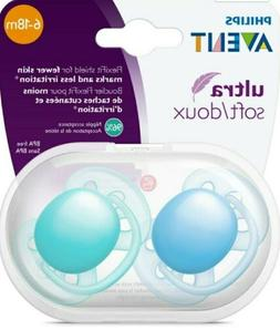Philips Avent Ultra Soft Pacifier, 6-18 Months, Blue/Teal, 2