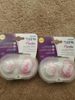 Avent Ultra Soft Pacifiers Size 0-6 Months Pink/White Dreams