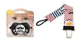 Ulubulu Retro Mustache Personalized Pacifier Clip and Mustac
