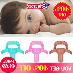 US Baby Newborn Kid Soother Holder Infant Orthodontic Silico
