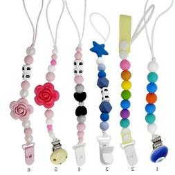 US Baby Silicone Pacifier Holder Clip Chain Dummy Nipple Tee