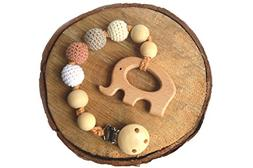 Mali Wear Natural Wooden Pendant Teething Dummy Clip