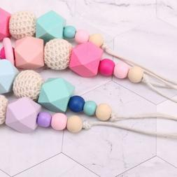 Wooden Soother Silicone Holder Kids Baby Chew Pacifier Clip