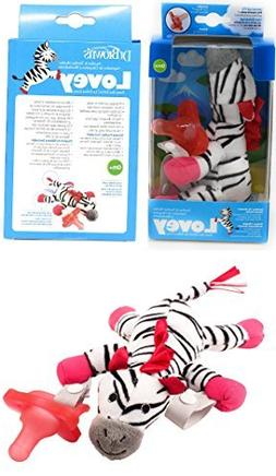 Dr. Brown's Zebra Lovey with Pink One-Piece Pacifier - Black